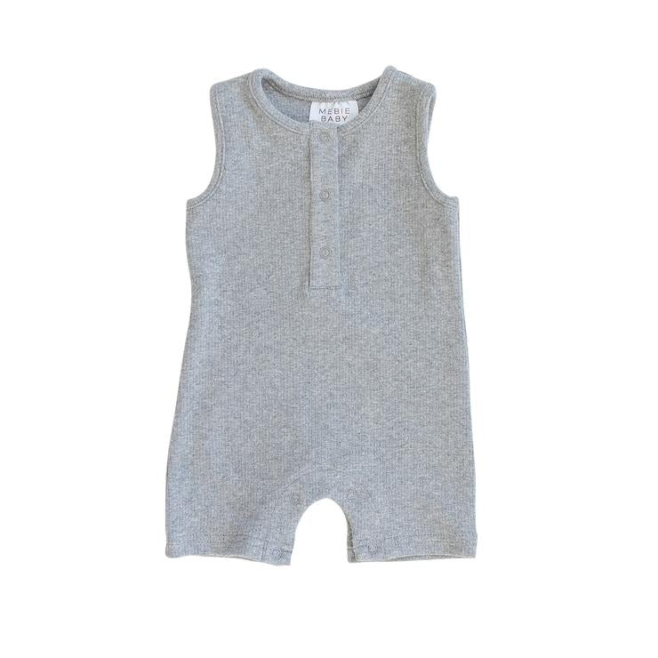 Ribbed Short Romper - Heather Grey