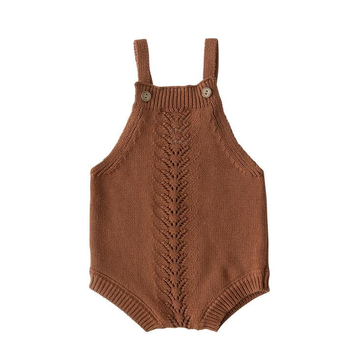Embellished Knit Romper - Rust