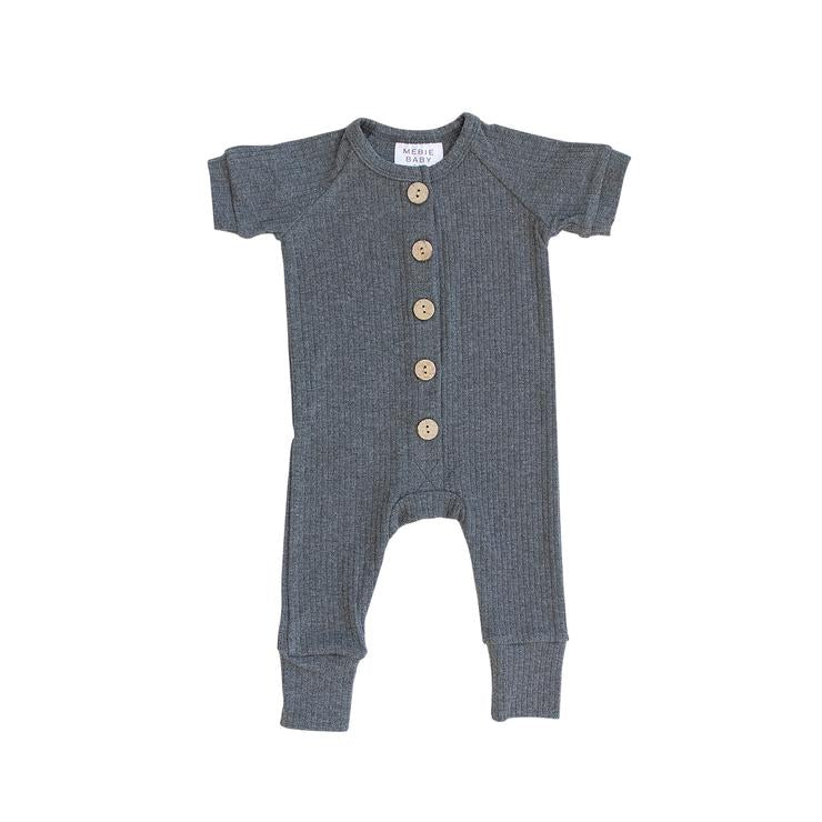 Short Sleeve Ribbed Romper - Charcoal