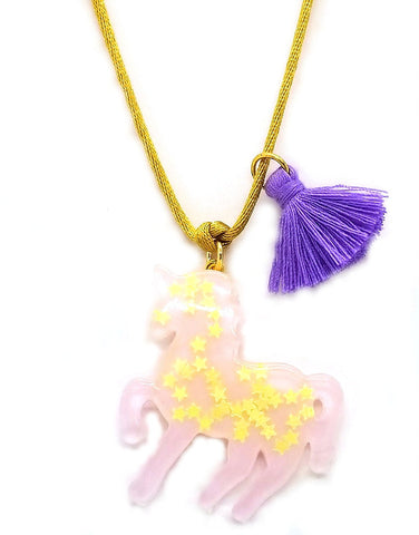 Sparkly Unicorn Necklace - Lavender