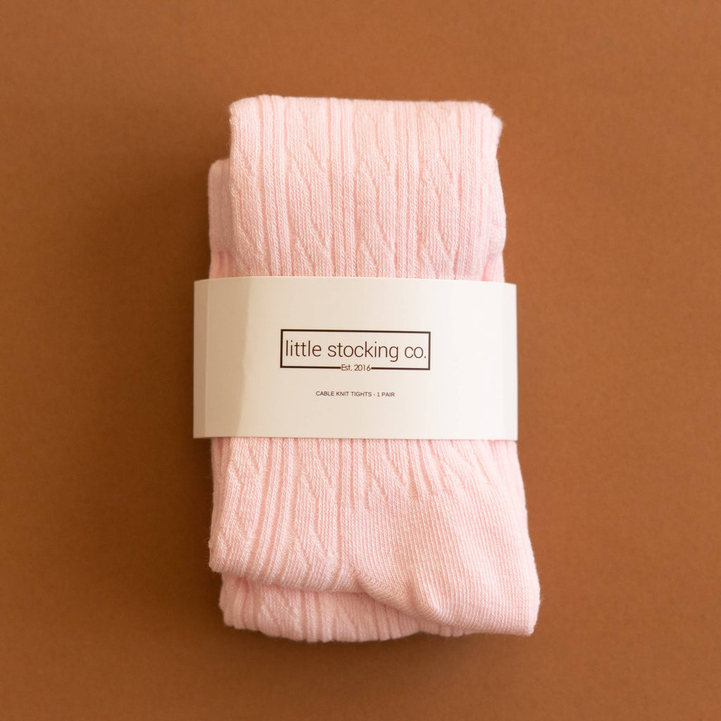 Cable Knit Tights - Light Pink