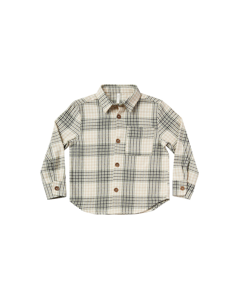 Rylee + Cru Flannel Collared Shirt - Forest