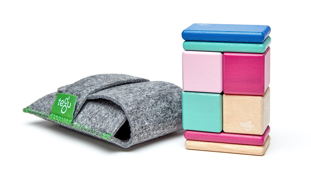 Tegu Magnetic Wooden Blocks 8 Piece Pouch