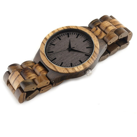 """BOBO BIRD D30"" Vintage Ebony Zebra Wood Luxury Watch"