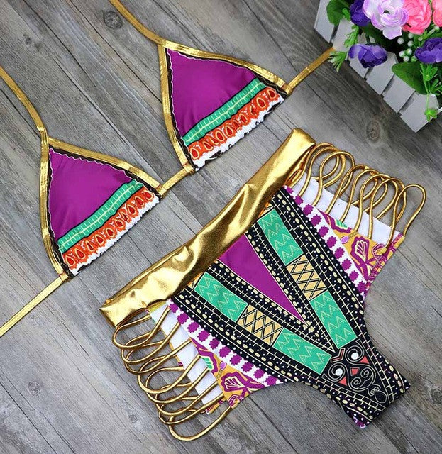 African Print Two-Piece Bikini