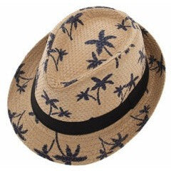 """Palm Tree"" Straw Fedora Unisex"
