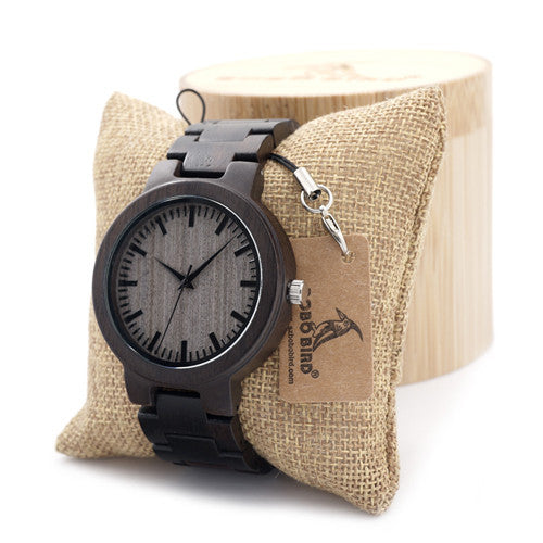 Ebony Grey Wood Luxury Quartz Watch