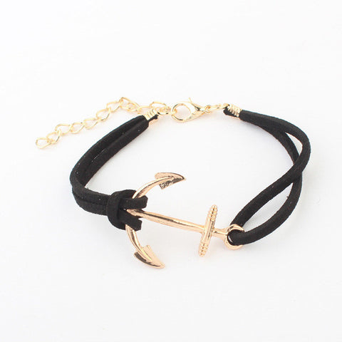 """Anchored"" Vintage Leather Bracelet"