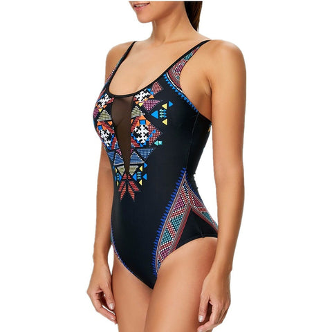 Women One Piece Swimwear Geometric Pattern High Cut