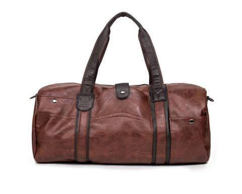 Luxury Brown Leather Large Travel Bag