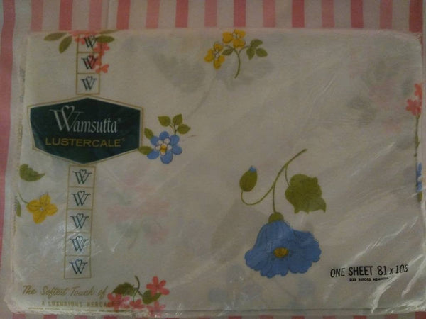 Wamsutta Lustercale 100% percale Double/Full Flat Sheet Whimsy pattern.