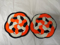 Vintage knitted trivets, hotpads for the dining room table.
