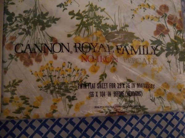 NIP Cannon Royal Family Floral Twin Flat Sheet Petit Jardin pattern.