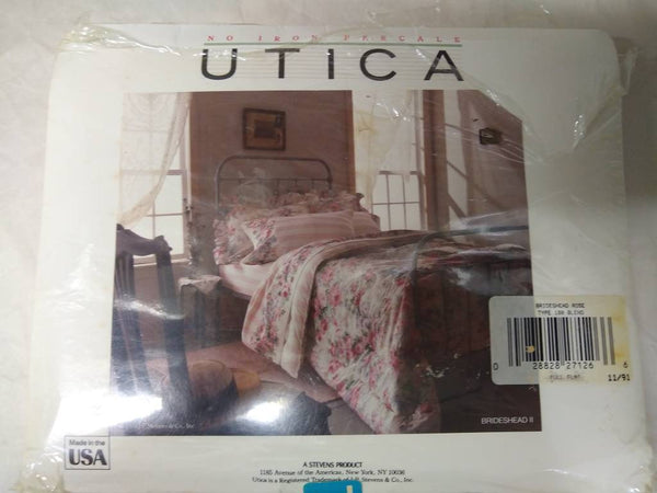 Utica Full Flat Sheet, Brideshead 2 floral pattern.