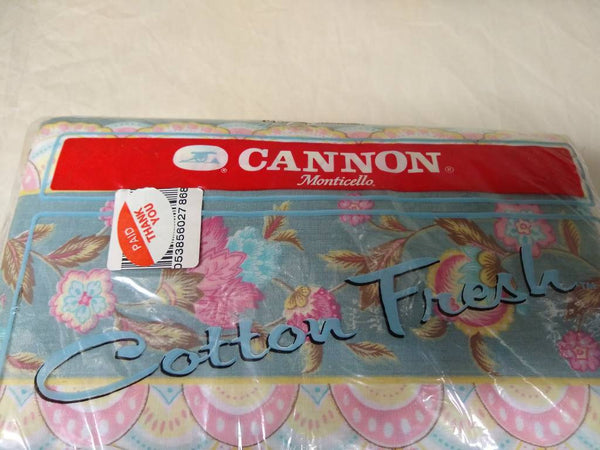 Cannon Monticello Full Flat Sheet, floral pattern 60 percent cotton content.