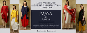 O Layla's 'Maya' collection is created using luxurious handwoven textiles like Maheshwari tissue and Bengal tussar silks. This formal wear line is a Contemporary version of classic Indian silhouettes. Inspired by Goddess Parvati as a warrior queen.