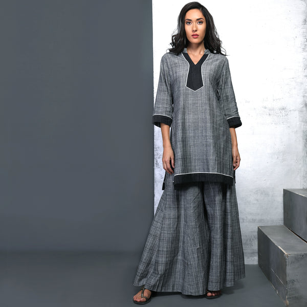 Meia Tunic with Sharara Pants - Grey checks