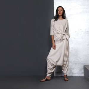 Shiro Knot Top with Anzu Dhoti - Ivory