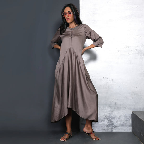 Koji Cowl Dress - Fossil Grey