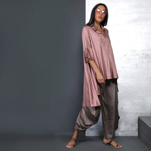 Nishi Shirt with Goro Pants - Muddy Pink and Fossil Grey