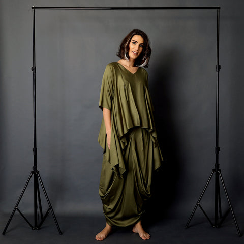 Umika Cape Top with Hoshi Dhoti Skirt - Olive Green