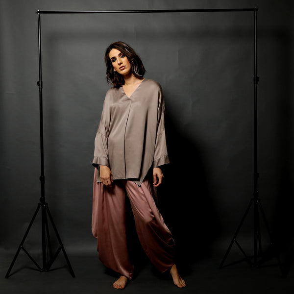Nami Tunic with Goro Pants - Fossil Grey and Muddy Pink