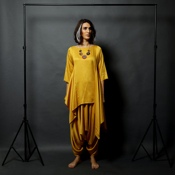 Koi Asymmetric Top with Anzu Dhoti Skirt - Canary Yellow