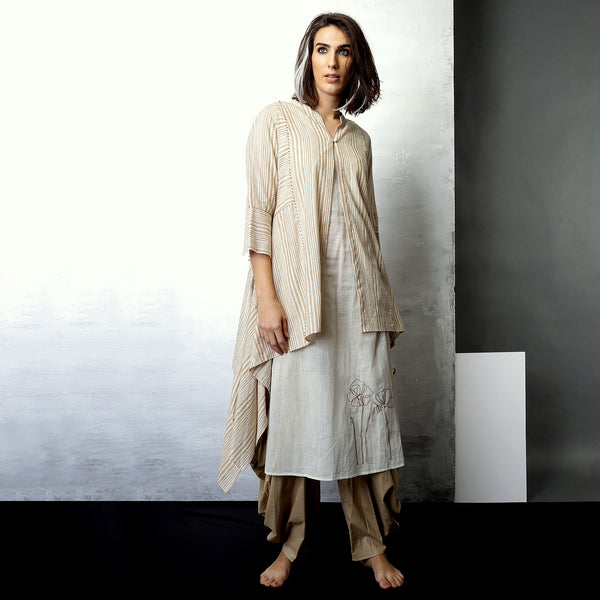 Contemporary Sustainable Fashion from Indian designer wear label O Layla. Ameya  jacket is an Aymmetric 3 piece set. Handloom textiles.