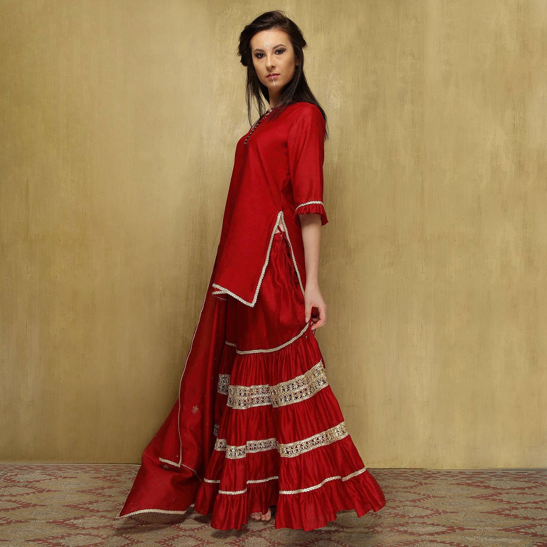 Kamya ruffle ghagra set - Blood Red and Gold