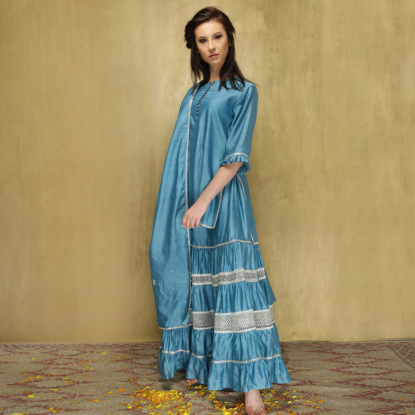 Kamya ruffle ghagra set - Powder Blue and Gold