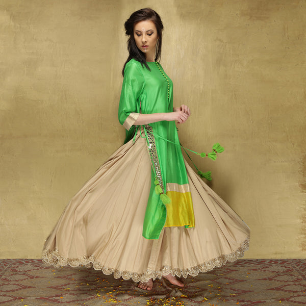Parvati Maxi + Dupatta- Green and Ecru