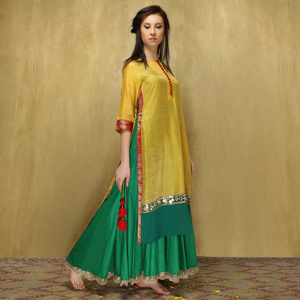 Parvati Maxi + Dupatta - Yellow and Green