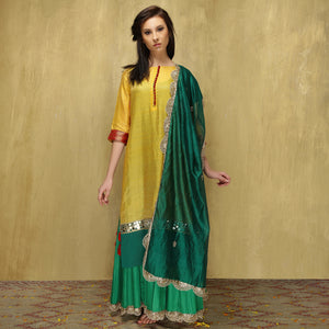 Parvati Maxi + Dupatta - Yellow and Green - O Layla