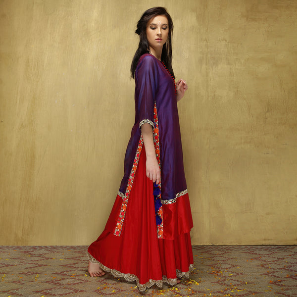 Parvati Maxi + Dupatta - Purple and Red - O Layla