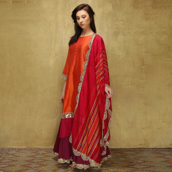 Parvati Maxi + Dupatta - Dark Orange and Magenta