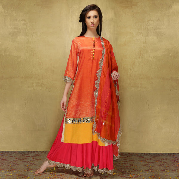 Parvati Maxi - Vermillion Orange and Candy Pink