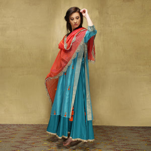 Parvati Maxi + Dupatta - Turquoise Blue and Watermelon Orange