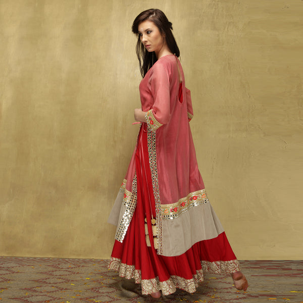 Parvati Maxi - Dusty Pink and Red