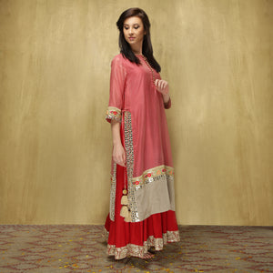 Parvati Maxi - Dusty Pink and Red - O Layla