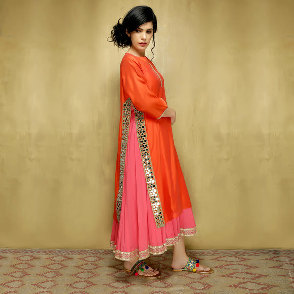 Deepika Kurta Dress - Orange on Pink