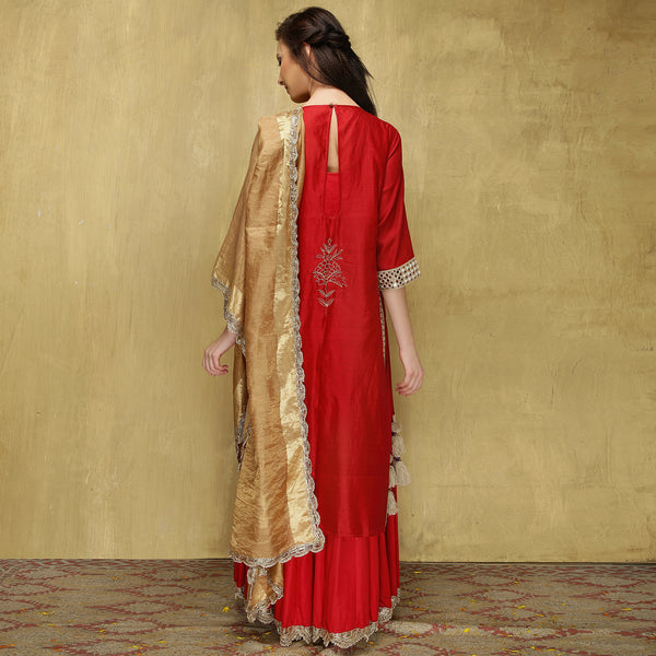 Parvati Maxi + Dupatta - Red and Gold