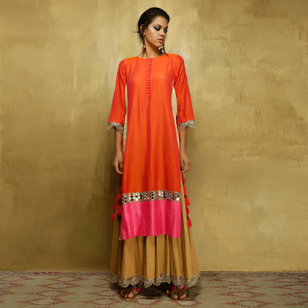 Parvati Maxi - Orange and Gold