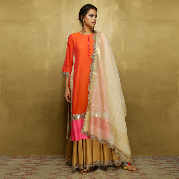 Parvati Maxi + Dupatta- Orange and Gold