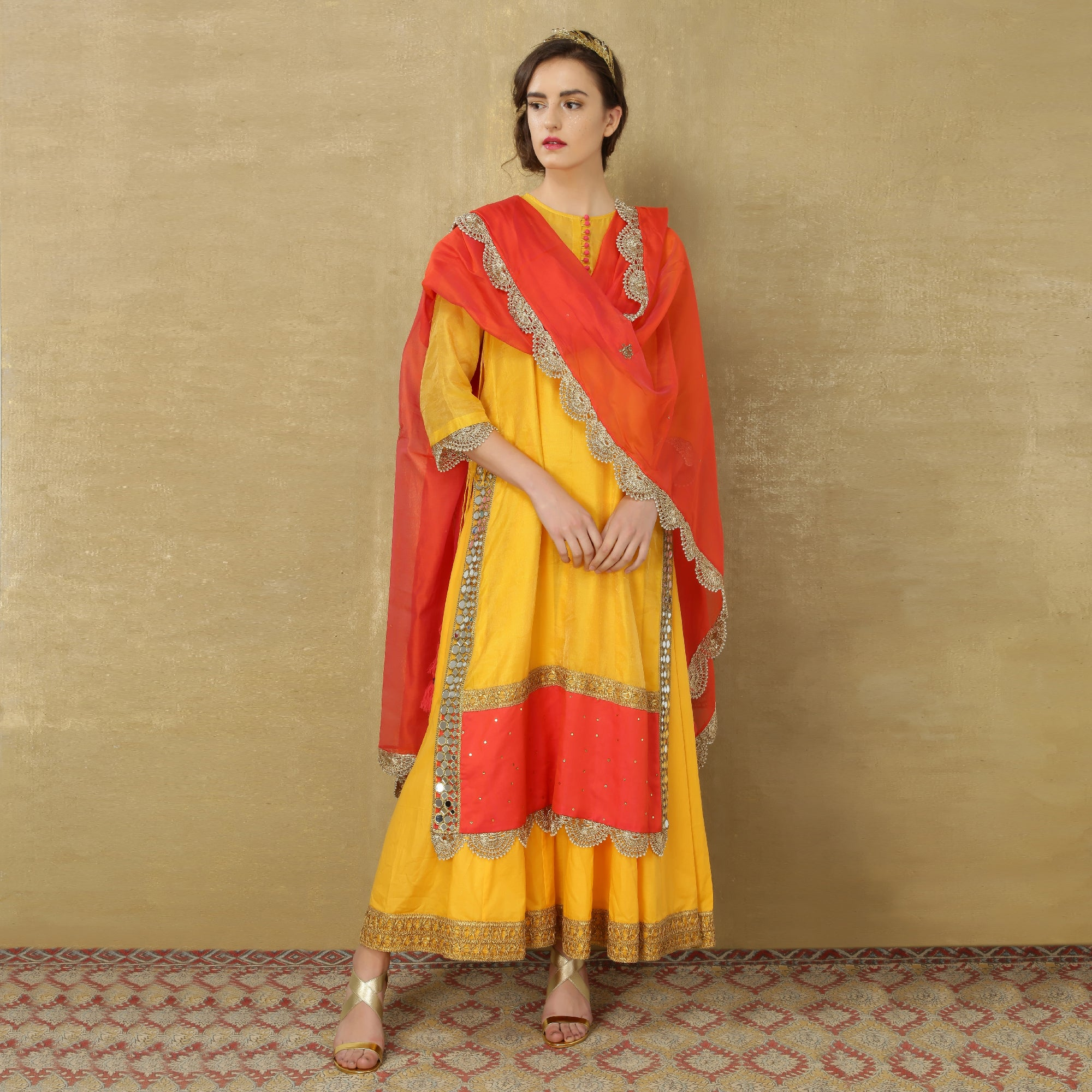 Uma Maxi - Marigold Yellow and Bright Orange