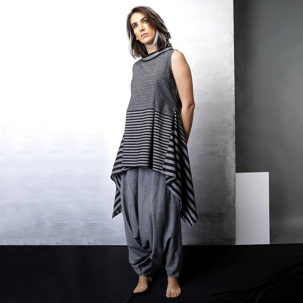 Contemporary Sustainable Fashion from Indian designer wear label O Layla. Manah asymmetrical tunic with Anzu dhoti pants. Handloom textiles.