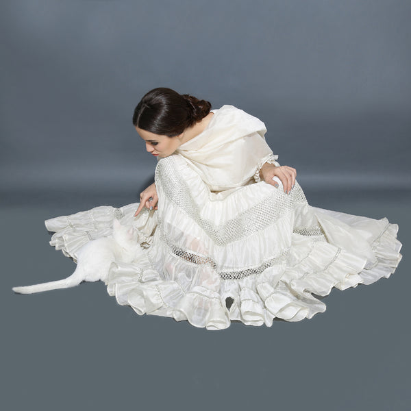 Kamya ruffle ghagra set - Ivory and Silver