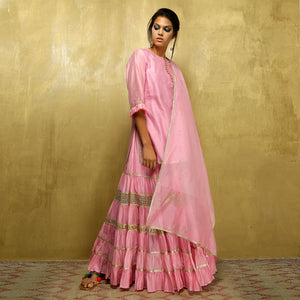 Kamya ruffle ghagra set - Mauve and Gold