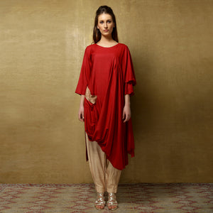 Nyoko Sari Kurta with Niko Pants - Rust Red and Champagne - O Layla