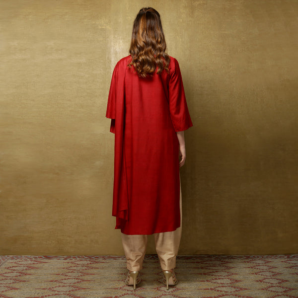 Nyoko Sari Kurta with Niko Pants - Rust Red and Champagne