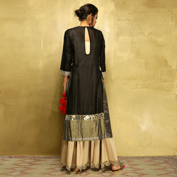 Parvati Maxi + Dupatta- Black and Gold